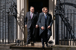 © Licensed to London News Pictures. 08/05/2019. London, UK. US Secretary of State Mike Pompeo (left) leaves 10 Downing Street after talks with British Prime Minister Theresa May (not pictured). Photo credit : Tom Nicholson/LNP