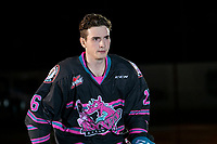 KELOWNA, BC - SEPTEMBER 21:  Liam Kindree #26 of the Kelowna Rockets enters the ice for home opener against the Spokane Chiefs at Prospera Place on September 21, 2019 in Kelowna, Canada. (Photo by Marissa Baecker/Shoot the Breeze)