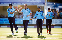 Yorkshire's Steven Patterson (second left) celebrates taking the wicket of Essex's Ravi Bopara for 8 during the One Day Cup, Quarter Final at the Cloudfm County Ground, Essex.