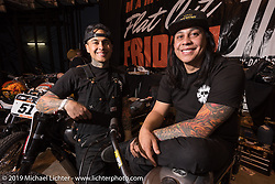 Racer brothers Shaun and Aaron Guardado of Suicide Machine at the Flat Out Friday indoor flat track racing during the Mama Tried Show weekend. Milwaukee, WI. USA. Friday February 23, 2018. Photography ©2018 Michael Lichter.