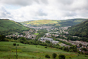 Landscape of Tonypandy Town lying in the Rhondda Fawr Valley, South Wales, UK. It is a former industrial coal mining town, best known as the site of the Tonypandy riots in 1910.   (photo by Andrew Aitchison / In pictures via Getty Images)