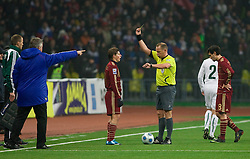 Yellow card for Andrej Arsavin (10) of Russia when he hit Miso Brecko of Slovenia at  FIFA World Cup Sout Africa 2010 Qualifying Play off match between Russia and Slovenia, on November 14, 2009, in Stadium Luzhniki, Moscow, Russia. Russia won 2:1. (Photo by Vid Ponikvar / Sportida)