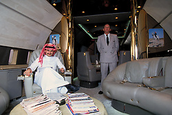 File picture dated of 1994 of Saudi Prince Alwaleed Bin Talal, inside of his first private jet (a Boeing 727) as Airbus announces that Saudi prince and billionaire Prince Alwaleed Bin Talal Bin Abdulaziz Al Saud placed an order for an Airbus-A380, few months ago, which will make this the largest private jet in the world in Dubai, United Arab Emirates on November 12, 2007. With a surface of 900 square meters, the giant aircraft is designed for up to 830 passengers... 'Catalogue price' is around 300 million dollars, and between 50 to 150 other millions for interior design... Photo by ABACAPRESS.COM  | 137180_08 Dubai Emirats Arabes Unis United Arab Emirates