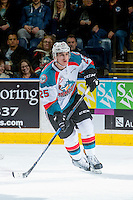 KELOWNA, CANADA - DECEMBER 27: Cal Foote #25 of the Kelowna Rockets skates against the Kamloops Blazers on December 27, 2016 at Prospera Place in Kelowna, British Columbia, Canada.  (Photo by Marissa Baecker/Shoot the Breeze)  *** Local Caption ***