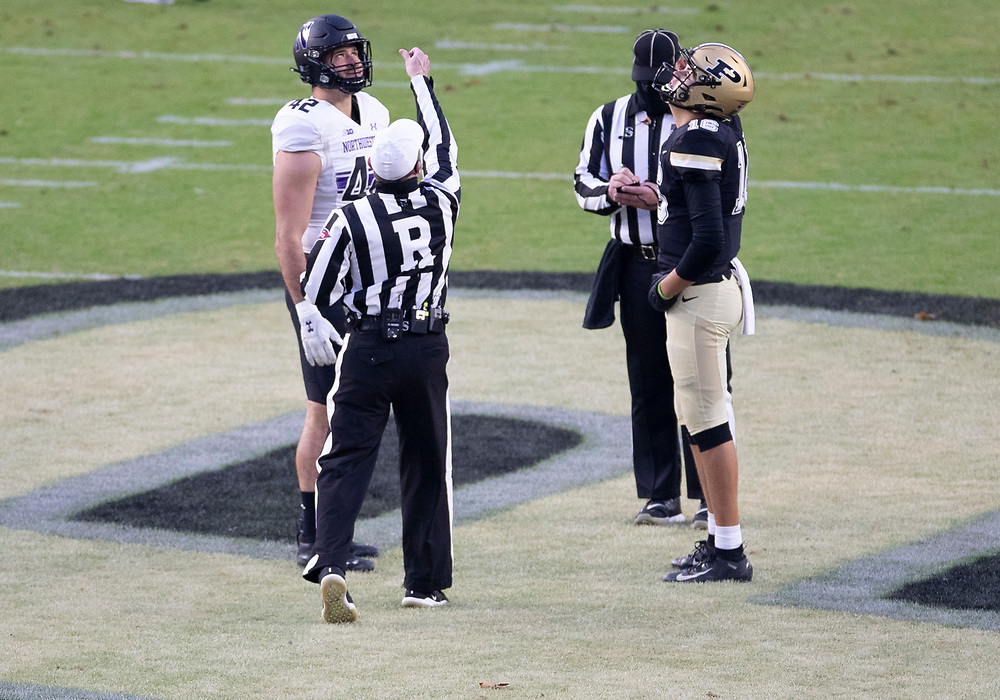 November 14, 2020:  Captains at midfield for the coin toss prior to NCAA football game action between the Northwestern Wildcats and the Purdue Boilermakers at Ross-Ade Stadium in West Lafayette, Indiana. Northwestern defeated Purdue 27-20.  John Mersits/CSM.