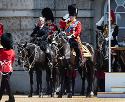 © Licensed to London News Pictures. 01/06/2019. London, UK.  Prince Andrew, Duke of York takes part in Trooping the Colour Colonel's Review in Horse Guards Parade. Reviewed by His Royal Highness The Duke of York, this rehearsal takes place a week before Queen Elizabeth II attends the same ceremony on June 8th to mark her official birthday. Over 240 soldiers from the 1st Battalion Welsh Guards will line the route down The Mall. Also taking part will be up to 1450 soldiers of the Household Division and The King's Troop Royal Horse Artillery, along with up to 400 musicians from the Massed Bands, all of whom will parade on Horse Guards for the second of two formal Reviews. Photo credit: Peter Macdiarmid/LNP
