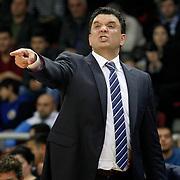 Anadolu Efes's coach Vaggelis Aggelou during their BEKO Basketball League match Anadolu Efes between Banvit at Abdi Ipekci Arena in Istanbul Turkey on Sunday 05 January 2014. Photo by TURKPIX