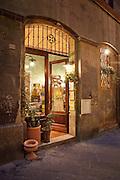 The restaurant Hosteria Il Carroccio in the narrow streets of Siena, Tuscany, Italy