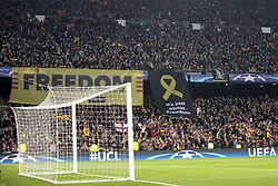 March 14, 2018 - Barcelona, Catalonia, Spain - Banner ask freedom during UEFA Champions League match between FC Barcelona and Chelsea FC at Camp Nou Stadium corresponding of Round of 16, Second leg on March 14, 2018 in Barcelona, Spain. (Credit Image: © Urbanandsport/NurPhoto via ZUMA Press)