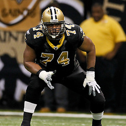 January 7, 2012; New Orleans, LA, USA; New Orleans Saints offensive tackle Jermon Bushrod (74) against the Detroit Lions during the 2011 NFC wild card playoff game at the Mercedes-Benz Superdome. Mandatory Credit: Derick E. Hingle-US PRESSWIRE