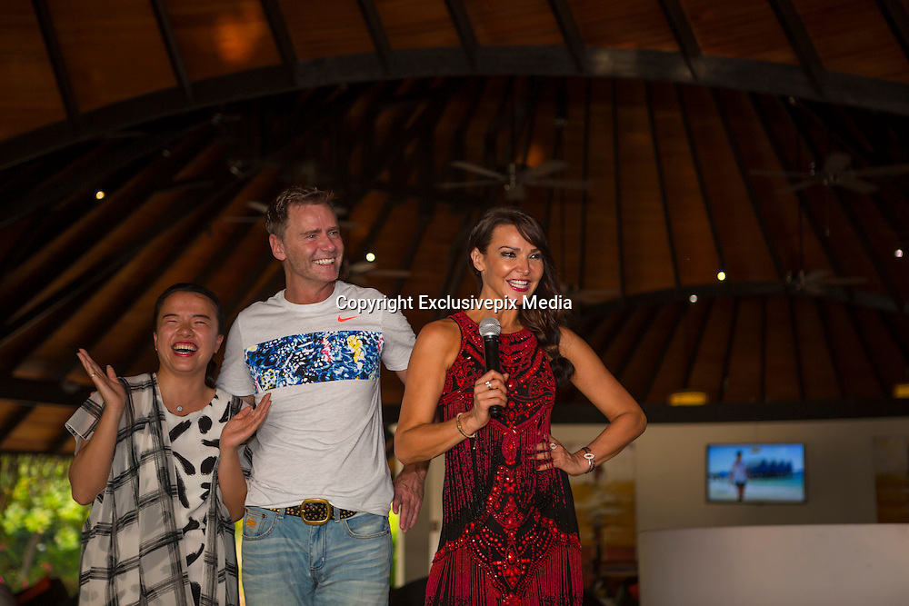 EXCLUSIVE<br />Lizzie Cundy and Bruno Tonioli pictured Judging during the dancing competition held at The Sun Siyam Iru Fushi Maldives<br />©Exclusivepix Media