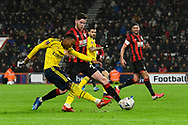 Joe Willock (28) of Arsenal crosses the ball during the The FA Cup match between Bournemouth and Arsenal at the Vitality Stadium, Bournemouth, England on 27 January 2020.