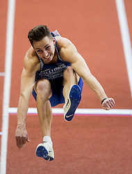 Kristjan Rosenberg of Estonia competes in the Heptathlon Long Jump Men on day two of the 2017 European Athletics Indoor Championships at the Kombank Arena on March 4, 2017 in Belgrade, Serbia. Photo by Vid Ponikvar / Sportida