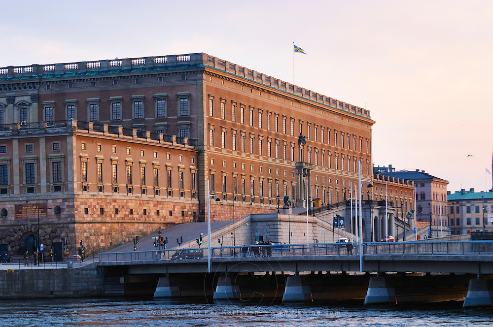 The Swedish Royal Palace in the Gamla Stan, Old Town. In late evening sunshine. Stockholm. Sweden, Europe.