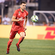 MEADOWLANDS, NEW JERSEY- August 7:   Nacho #6 of Real Madrid in action during the Real Madrid vs AS Roma International Champions Cup match at MetLife Stadium on August 7, 2018 in Meadowlands, New Jersey. (Photo by Tim Clayton/Corbis via Getty Images)