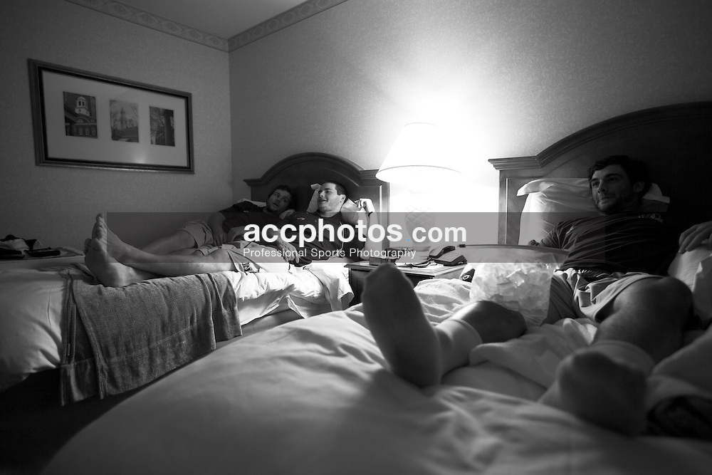 22 May 2009: Duke Blue Devils attackman Max Quinzani (8), midfielder Michael Hutchings (33) and attackman Gibbs Fogarty (7) at their hotel in Boston, MA.