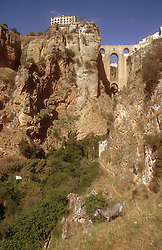 Gorge at Ronda; Andalucia; with a goat in the foreground,