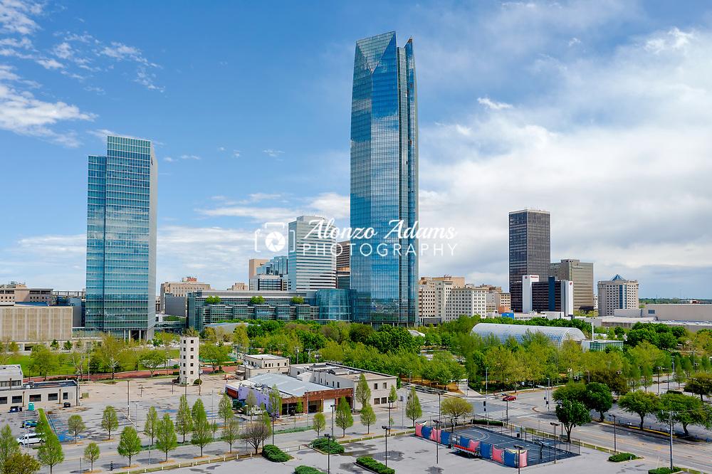 A view of downtown Oklahoma Ciity skyline looking NE on Sunday, April 12, 2020. Photo copyright © 2020 Alonzo J. Adams.