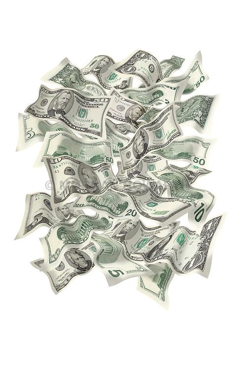 Flying paper money