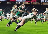 Football - 2018 Women's International (Quilter Internationals) - England vs. Ireland<br /> <br /> Lydia Thompson of England dives over for another try at Twickenham.<br /> <br /> COLORSPORT/ANDREW COWIE