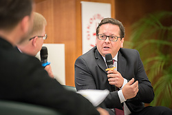 18 September 2017, Geneva, Switzerland: A talkshow format presents a range of programmes and activities of the World Council of Churches, at the Ecumenical Centre in Geneva where the WCC hosts a meeting of member churches' Ecumenical Officers. Here, interview with Marcelo Schneider.