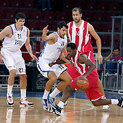 Olympiacos's Kalin LUCAS (R) during their Two Nations Cup basketball match Anadolu Efes between Olympiacos at Abdi Ipekci Arena in Istanbul Turkey on Sunday 02 October 2011. Photo by TURKPIX
