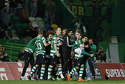 April 18, 2018 - Lisbon, Lisboa, Portugal - Sporting CP players celebrating after wining the match during the Sporting CP v FC Porto - Portuguese Cup semi finals 2 leg at Estadio Jose Alvalade on April 18, 2018 in Lisbon, Portugal. (Credit Image: © Dpi/NurPhoto via ZUMA Press)