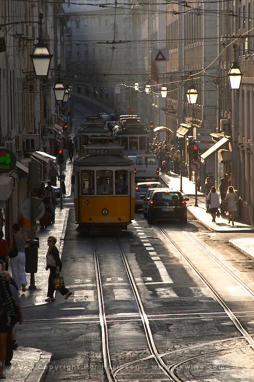 tram rua do conceicao lisbon portugal