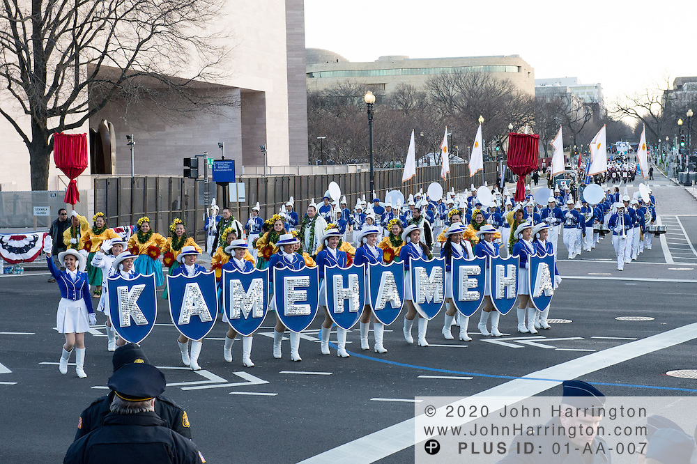 Hawaii's Kamehameha band participates in the parade for the 57th Presidential Inauguration of President Barack Obama at the U.S. Capitol Building in Washington, DC January 21, 2013.