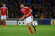 Joe Allen of Wales in action. Vauxhall International football friendly, Wales v The Netherlands at the Cardiff city stadium in Cardiff, South Wales on Friday 13th November 2015. pic by Andrew Orchard, Andrew Orchard sports photography.