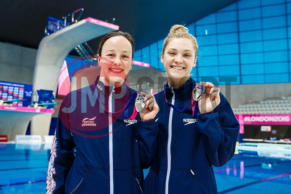 Rebecca Gallantree and Alicia Blagg of Great Britain celebrate with their Silver Medals from the Womens 3m Synchronised Springboard - Mandatory byline: Rogan Thomson/JMP - 15/05/2016 - DIVING - London Aquatics Centre - Stratford, London, England - LEN European Aquatics Championships 2016 Day 7.