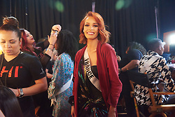 Maëva Coucke, Miss France 2019 gets hair done by a stylist from Farouk Systems, the Makers of CHI & Biosilk and makeup done by an OP Cosmetics artist backstage during The MISS UNIVERSE® Competition airing on FOX at 7:00 PM ET on Sunday, December 8, 2019 live from Tyler Perry Studios in Atlanta. Contestants from around the globe have spent the last few weeks touring, filming, rehearsing and preparing to compete for the Miss Universe crown. HO/The Miss Universe Organization