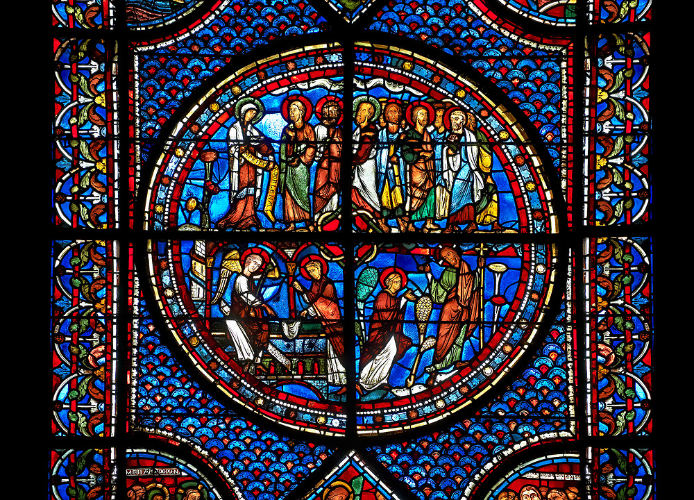 Medieval stained glass Window of the Gothic Cathedral of Chartres, France - dedicated to the Life of St Mary Magdalen. Central panel - bottom left - Mary meets the angel at Christ's empty tomb (the Quem quaeritis), bottom right - The Noli me tangere, top left - Mary as the Apostola Apostolorum , top right - The Apostles receiving Mary's news . A UNESCO World Heritage Site. .<br /> <br /> Visit our MEDIEVAL ART PHOTO COLLECTIONS for more   photos  to download or buy as prints https://funkystock.photoshelter.com/gallery-collection/Medieval-Middle-Ages-Art-Artefacts-Antiquities-Pictures-Images-of/C0000YpKXiAHnG2k