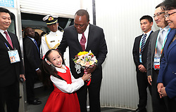 November 3, 2018 - Shanghai, China - Kenyan President Uhuru Kenyatta (4th R, front) arrives at the Shanghai Pudong International Airport in Shanghai, east China, on Nov. 3, 2018. Kenyatta is here to attend the first China International Import Expo (CIIE) which runs from Nov. 5 to 10 (Credit Image: © Fang Zhe/Xinhua via ZUMA Wire)