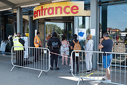 © Licensed to London News Pictures. 01/06/2020. London, UK. Customers practice social distancing entering the reopened Ikea furniture store in Wembley. The company closed its UK stores in the UK on March 20 due to the Coronavirus lockdown. Customers will experience enhanced cleaning and safety precautions and social distancing rules will be enforced. Photo credit: Ray Tang/LNP