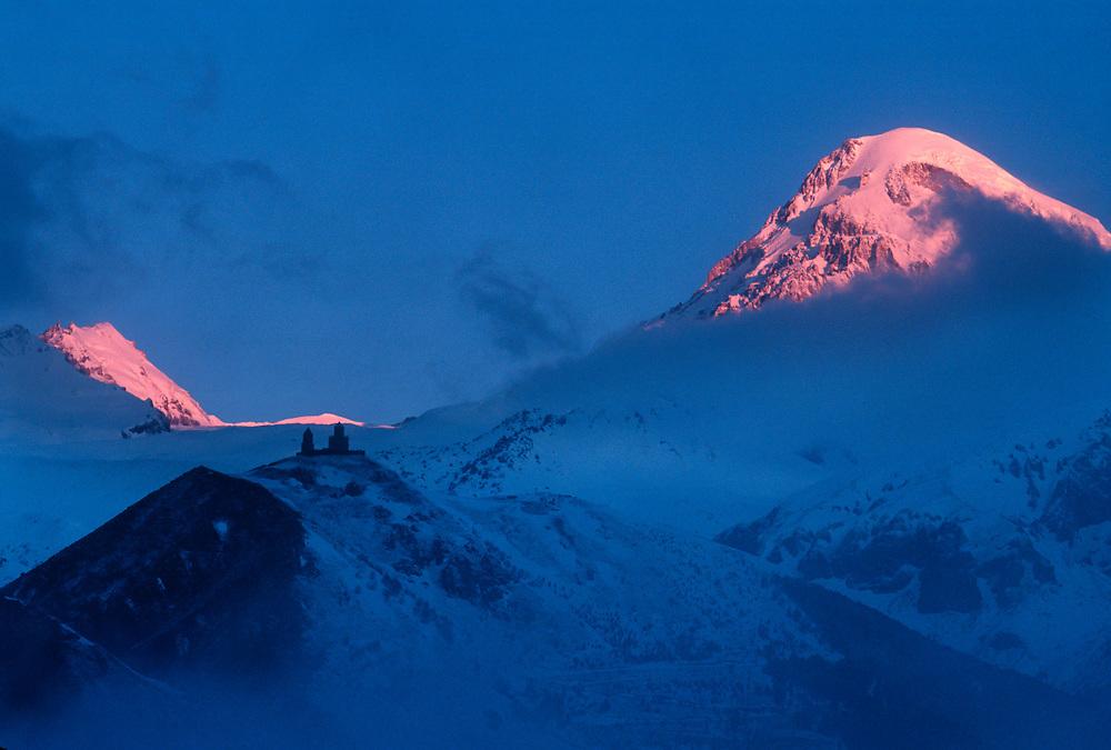 Mount Kazbek, elevation 16,512', Gergeti Trinity Church (Tsminda Sameba) Caucasus Mountains, The Country of Georgia