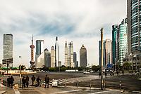 Shanghai, China - April 7, 2013: streets of pudong Shanghai China at the city of Shanghai in China on april 7th, 2013