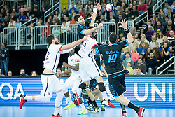 Leon Susnja #19 of PPD Zagreb during handball match between PPD Zagreb (CRO) and Paris Saint-Germain (FRA) in 11th Round of Group Phase of EHF Champions League 2015/16, on February 10, 2016 in Arena Zagreb, Zagreb, Croatia. Photo by Urban Urbanc / Sportida