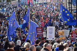 © Licensed to London News Pictures. 20/10/2018. London, UK. Tens of thousands of people take part in the People's vote on Brexit. More than 100,000 people are expected to take to the streets of London to demand a second Brexit Referendum. Photo credit: Ray Tang/LNP