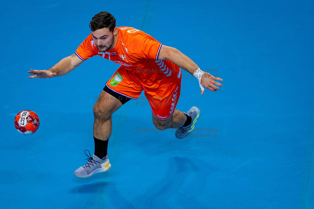 The Dutch handball player Dani Baijens in action against Slovenia during the European Championship qualifying match on January 6, 2020 in Topsportcentrum Almere