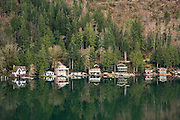 Wooden homes along the thickly forested shore of Lake Sutherland, Olympic Peninsula, Washington.