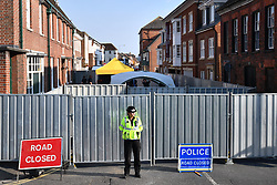 © Licensed to London News Pictures. 05/07/2018. Salisbury, UK. General view showing search teams gathering outside John Baker House in Salisbury, Wiltshire an area visited by two people who are in critical condition after being exposed to the Novichok nerve agent. Dawn Sturgess, 44, and Charlie Rowley, 45 hav been confirmed as having come in to contact with the deadly agent after samples were sent to the MoD's Porton Down laboratory. Former Russian spy Sergei Skripal and his daughter Yulia were poisoned with Novichok nerve agent in nearby Salisbury in March 2018 causing diplomatic tentions between Russia and the UK. Photo credit: Ben Cawthra/LNP