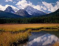Commonwealth Peak from wetlands of Smuts Creek, Kananaskis Country Alberta Canada