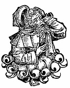 Avenzoar (Ibn Zohr) c1072-1162. Arab physician, native of Seville: noted clinician. From Hartmann Schedel 'Liber chronicarum mundi'  (Nuremberg Chronicle) Nuremberg 1493. Woodcut