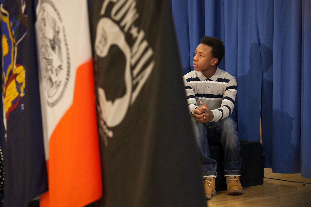 A NYC Public School student watches as Mayor-Elect Bill de Blasio announces his appointment of Carmen Fariña as Schools Chancellor at William Alexander Middle School in Park Slope, Brooklyn, NY on Monday, Dec. 30, 2013.<br /> <br /> CREDIT: Andrew Hinderaker for The Wall Street Journal<br /> SLUG: NYSTANDALONE