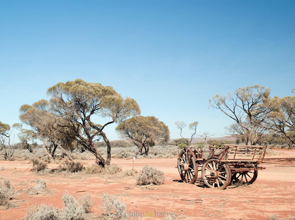 Abandoned wagon in the Gawler Ranges Nantional Park, South Australia, Australia
