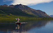 Alaska. Scenic view of canoeing and flyfishing Tangle Lakes for Arctic Grayling as viewed from the Denali Highway. (MR)