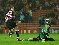 Fotball<br /> England 2004/2005<br /> Foto: SBI/Digitalsport<br /> NORWAY ONLY<br /> <br /> Sunderland v Crewe Alexandra<br /> Coca-Cola Championship, Stadium of Light, Sunderland 10/08/2004.<br /> <br /> Sunderland's Stephen Elliot (L) wheels away after scoring his team's third goal.