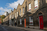 A row of well preserved grade 2 listed Georgian Houses on Roupell Street on the 7th November 2019 in London in the United Kingdom.