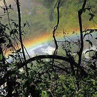 South America, Argentina, Iguacu Falls. Rainbow at Iguacu Falls.